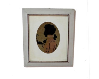Framed embroidery. Vintage needlepoint. Framed cross stitch. Jane austen. Antique silhoutte. Jane austen regency. Regency man. Grey frame.