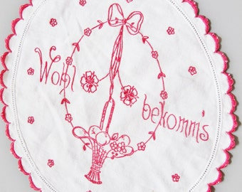 Old Vienna, Antique  Austrian Embroidered Textile, Vintage Doily, German Toast, Health, Art Nouveau, Cotton,