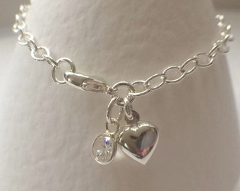 Sterling Silver Heart Charm Bracelet, Bridal Jewellery, Bridesmaid Gift, Silver Jewelry Gift, Faceted Cubic Zirconia Charm Bracelet,