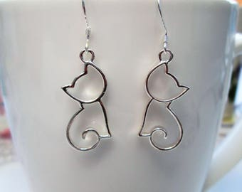 Silver plated cat earrings with 925 sterling silver or silver plated ear wires, cat jewelry,