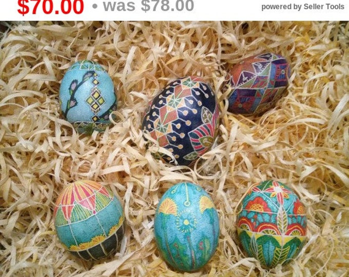 A set of 5 chicken egg pysanka and 1 goose egg pysanka