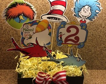 Dr Seuss centerpiece / Cat in the Hat / Thing one Thing two / oh the places you will go