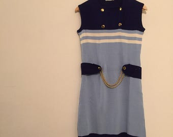 Vintage sailor modette minidress sixties vestitino stripes chain size S