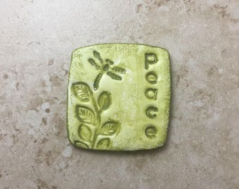 Handmade rustic sage green faux stoneware polymer clay square focal pendant cabochon - peace and dragonfly