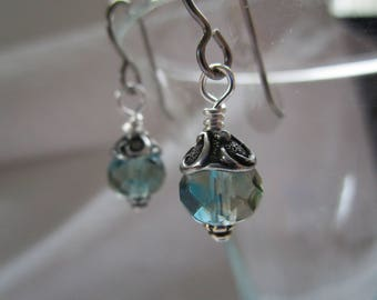 Glacial Swirl and Lily Hypoallergenic Fire Polished Beautiful Crystal Blue Czech Glass Earrings Grey Niobium Wires Little Boho Chic Earrings