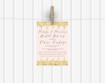 "Printable ""Pearls & Panties"" Bridal Shower Invitation"