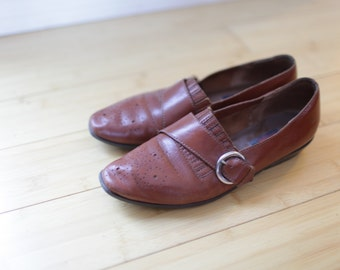 vintage brown leather buckle wingtips oxfords women's 8 1/2 *