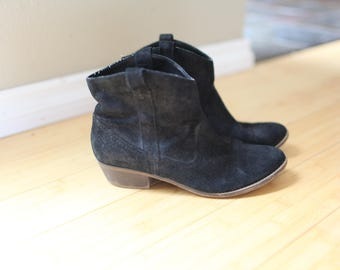 vintage black suede leather slip on cowboy western ankle boots womens 8