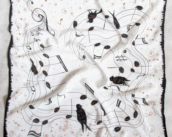 "Silk scarf. Hand painted scarves Batik shawl ""Music'' hand-painted on silk. Handmade Scarves. Black and white square scarf. Made to Order."
