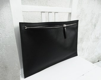 Black Leather Clutch Zippered