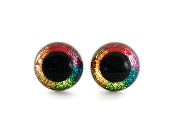 12 mm Safety Craft Eyes Hand Painted Rainbow Glitter for Stuffed Animals and Amigurumi: 1 Pair with Plastic Washers