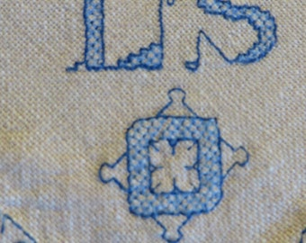 """Linen Napkins Hand Embroidered with """"L S""""  SHIPS FREE  //  Natural Linen with Blue Cotton Embroidery  //  Vintage Linens  //  Monogrammed LS"""