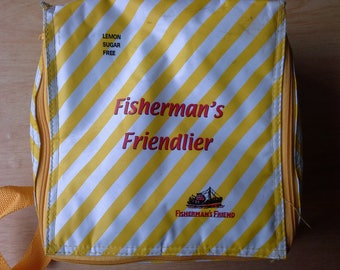 Vintage fisherman's friend yellow lunch bag