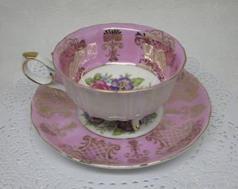 VINTAGE PINK TEACUP, Porcelain, Shafford, Hand Painted, Footed, Cup and Saucer, Collectible, Vintage, Floral, Gift Ideas, Mother's Day