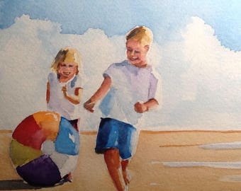 """Original Watercolour Painting,""""The Beach Ball""""  8x10 free shipping North America and UK."""