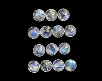 Rose Cut Rainbow Moonstone Cabochons 6mm Round Beautiful Play of Color Sale By Best In Gems (10427)