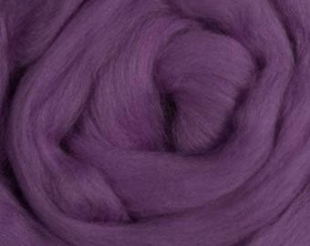 Dyed Merino - Lilac - Solid color commercial dyed - combed top roving spinning felting fiber fibre arts  - purple