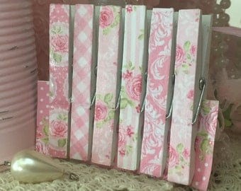 6 Shabby Chic Clothespins >MAGNETS OPTIONAL< Decoupage Decorative Rose Rosebud Floral Paperclips Pegs Pink Blue Sweet Vintage Designs