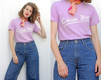 SALE Vintage T-Shirt | Lilac Crewneck T-Shirt Chickee Bar Fort Lauderdale Fl | Small S