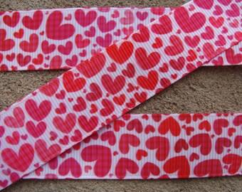 "7/8"" Valentine Pink Red Hearts Grosgrain Ribbon Happy Valentine's ribbon Wrapping ribbon Hair bow supplies"