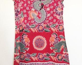 SALE 1960s hand made oriental dragon batik tunic dress