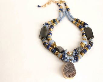 Handmade necklace COLD RIVER with gems