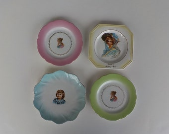 Antique Portrait Cabinet Plates - Set of 4