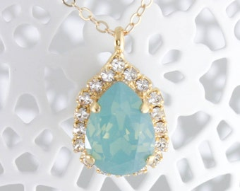Crystal necklace,mint wedding necklace,wedding necklace,mint green necklace,mint wedding,mint green wedding,opal necklace,swarovski opal
