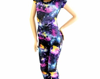 Cap Sleeve UV Glow Galaxy Print Hooded Bodysuit Catsuit w/Black Zen Hood Liner 154474
