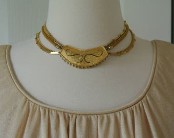 Cleopatra Estate Chocker Deco Gold Tone Signed TAN 1960s Hollywood Necklace
