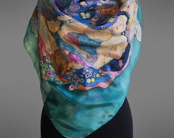 Klimt silk scarf The Virgine. Hand painted silk scarf.  Square silk scarf. Designer silk scarf. Pure silk scarf. Art to wear. Made to order.