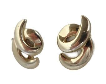 Vintage Monet Earrings, Goldtone Clip-on Earrings, Curled Earrings, Signed Monet Jewelry