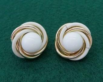 Trifari White Gold Swirl Earrings Vintage Designer Signed Clip on Earrings Costume Jewelry Gift Idea
