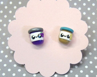 Peanut Butter Jelly Earrings, Unique, PBJ Jewelry, Cute Earrings, Hypoallergenic Nickel Free, Food Earrings, Gift for Girls