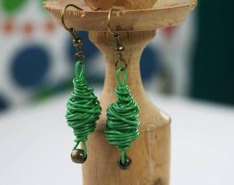Jewellery design. Upcycled earrings. Recycled electric cables. Cable green earrings DHAKA
