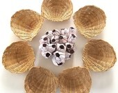 On hold TB - SET of (7) Vintage Rattan Scallop Shells | Trinket Trays