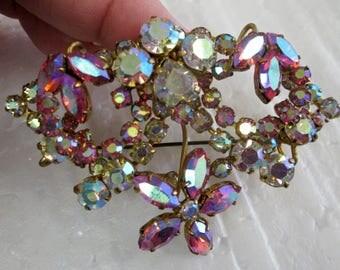 Pink & Aurora Borealis pronged brooch