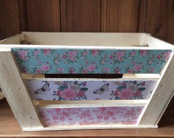Hand finished shabby chic vintage solid wood storage crate box