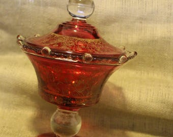 Vintage Cranberry candy dish with lid