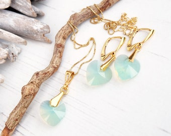 Swarovski Opal Green Heart Earring Necklace Set- Swarovski Crystal Jewellery-24k Gold Plated Heart Dangle Earring Necklace-Bridesmaides Gift