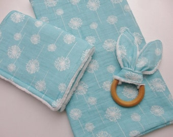 3 Piece Mint Dandelion Baby Gift Set - Swaddling Blanket, Burp Cloth, Teething Ring - Ready to Ship