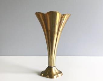 Flared Brass Vase / Brass Vase / Fluted Brass Vase