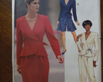 Butterick 5271, sizes 6-10, wrap top, skirt, split skirt, pants, UNCUT sewing pattern, craft supplies