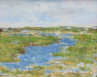 Salt Marsh, Nantucket- Palette Knife Oil Painting