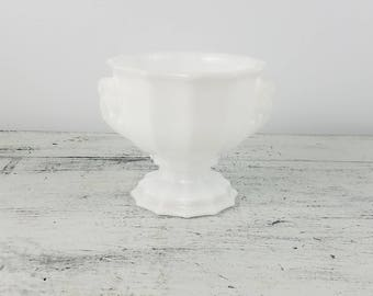 Milk Glass Pedestal Bowl, E.O. Brody and Co. Ohio, decorative, collectible, fenton glass