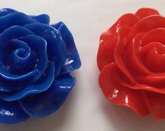 2 pcs Mixed 30 mm Cabochon Flower,30 mm royal blue cabochon flower,hot pink resin flower,big rose,flat back flower,blue rose cabochon