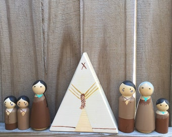 Indian Tribe Peg Doll Family with Teepee