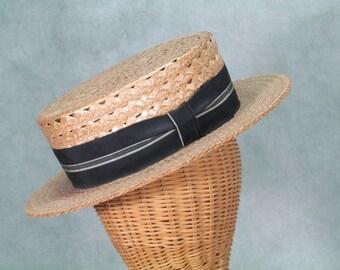 1930s Hat -  Straw Boater Hat Vintage Garden Hat 1920s Vintage Hat