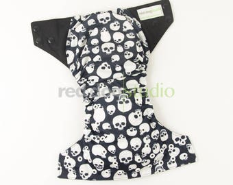 No Touch Style One-Size Pocket Diaper - Skulls | Choose Insert Option