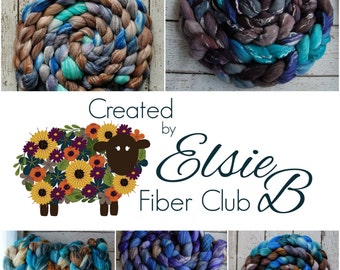 3 MONTH **Luxury** Fiber Club Subscription, 4 oz hand dyed roving, Created by Elsie B combed top, spinning fiber of the month, wool roving